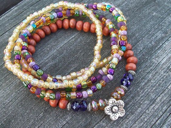 "Stretch Beaded Stacker 7 1/2"" Bracelets with Flower Charm - Czech Glass and Wood by Angelof2, $25.00"
