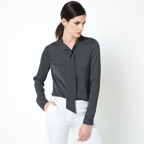Long-Sleeved Softly Draping Polka Dot Pussy Bow Blouse LAURA CLEMENT