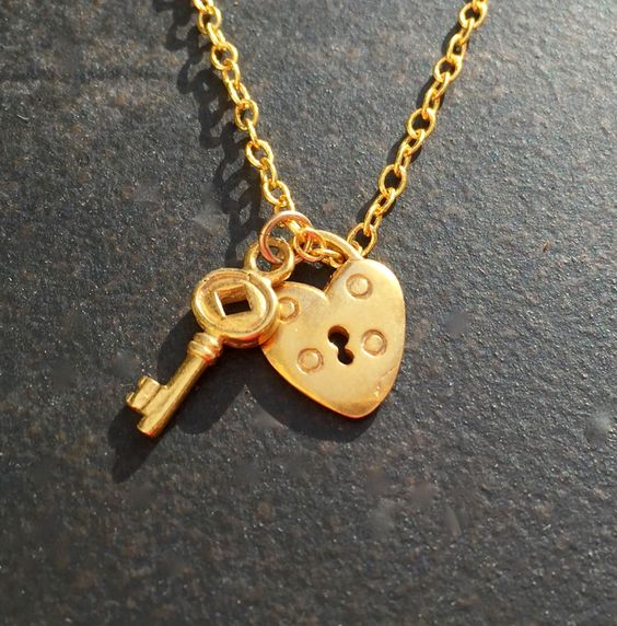 A personal favorite from my Etsy shop https://www.etsy.com/ca/listing/474583918/lock-and-key-necklace-gold-lock-and-key