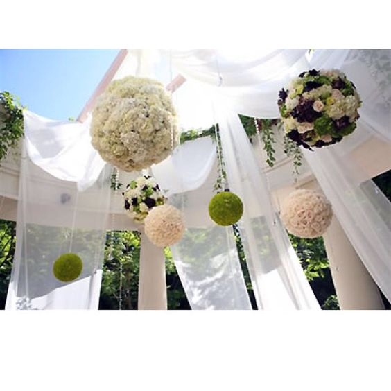 I really love the idea of stuff hanging from the trees... like lights or these big tissue paper or flower balls.
