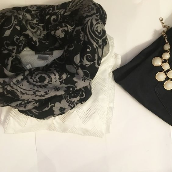 Talbots scarf Scarf is perfect for work or a night out. Studded detail throughout the scarf, as seen in fourth photo. Tiny hole and hanging thread, but can be fixed. 100% Viscose. Hand wash cold only. No trades. Talbots Accessories Scarves & Wraps