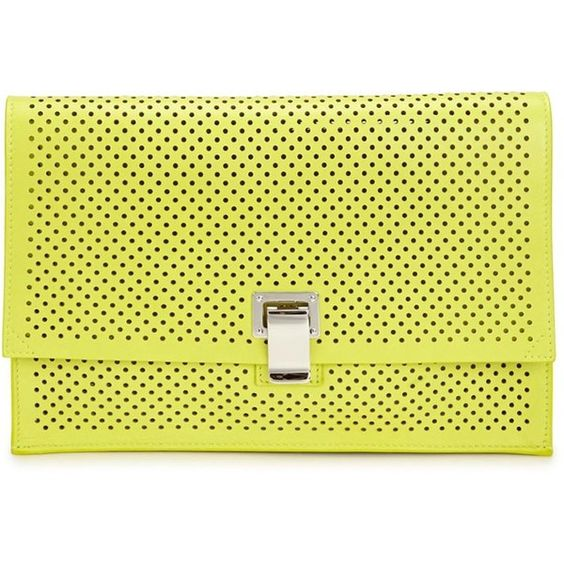 Womens Clutches Proenza Schouler Small Lunch Bag Yellow Leather Clutch (£575) ❤ liked on Polyvore featuring bags, handbags, clutches, clasp purse, proenza schouler handbag, yellow handbag, yellow purse and proenza schouler purse