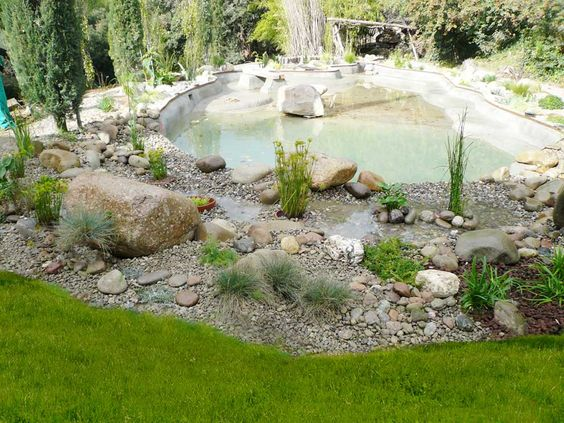 Parquizaci n de los exteriores del estanque se realiza un jard n seco con grava de r o piedras - Recuperar jardin seco ...