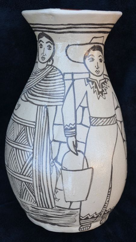 pottery, traditional mexican folkart, handmade vase, angelica morales, black and white