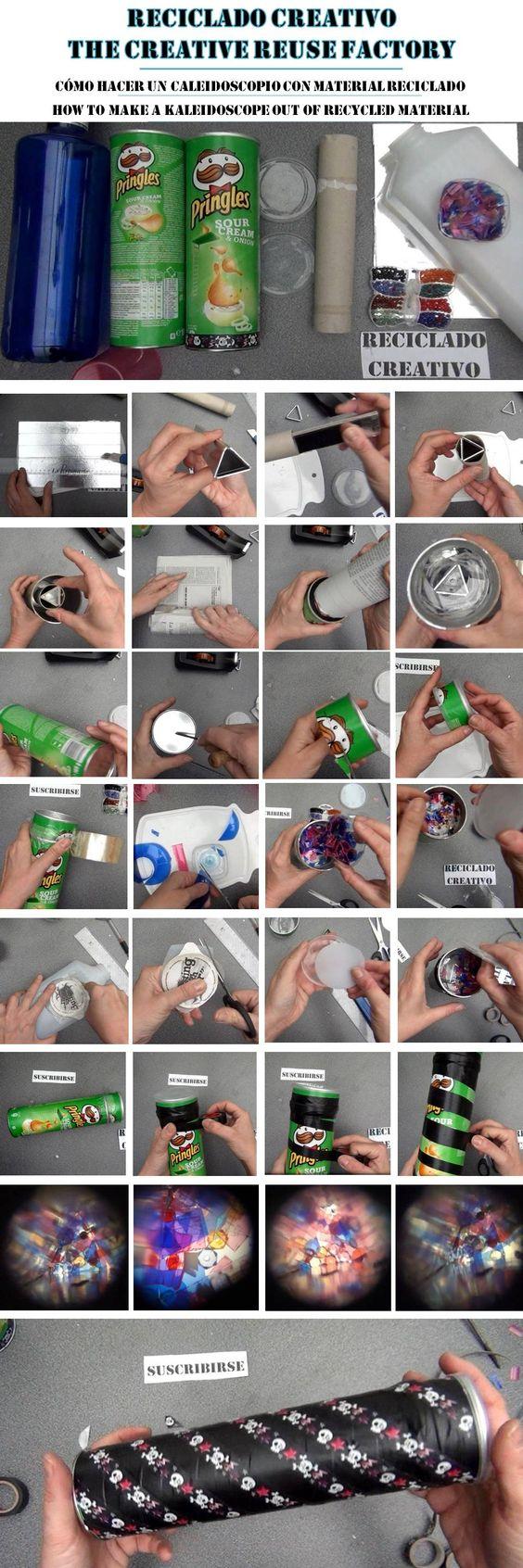 https://youtu.be/vMflb4D8dpo Cómo hacer un Caleidoscopio para niños con botes de Pringles y otros materiales reciclados. How to make a kaleidoscope out of recycled materials #pringleshack