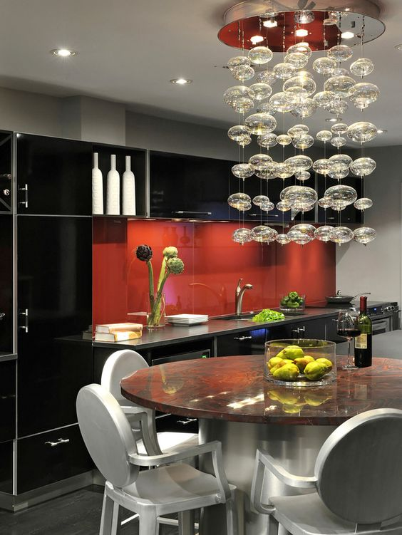 Love the lights n the red n black kitchen!
