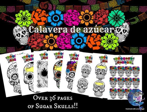 Sugar Skulls!! -Calaveras de azucar!!-PRINTABLES by OLIXIAshop on Etsy