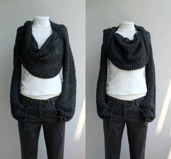 Knitting Pattern For Scarf With Sleeves : Hand Knitted Long Sleeves Charcoal Wrap Bolero Shrug Over Size With Scarf / K...