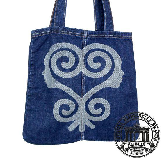 02. Jeans Denim Tote Bag Marionelli SANKOFA Tasche  Beutel / Stofftasche
