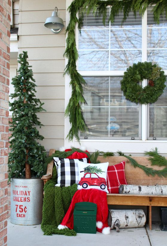 Our Cozy Christmas Porch The Tattered Pew Christmas Garden Decorations Christmas Porch Outdoor Christmas Diy