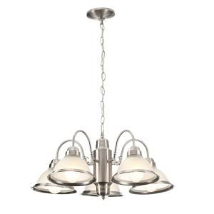 Commercial Electric, Halophane 5-Light Brushed Nickel Chandelier, WB0390/SC-1 at The Home Depot - Mobile