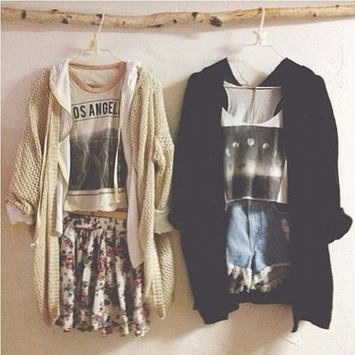 #grunge #cardigan #outfit #ootd #shirt #high #waisted #shorts #skirt #floral…