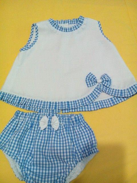 Conjunto de bebe elaborado en lino y bichi, hermoso.: