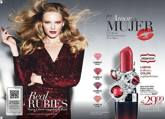 Ultra Color Rich Rubies Lipstick Lapiz Labial con polvo de Rubí. Colores: Rosa, Rubí, Vino y Nude