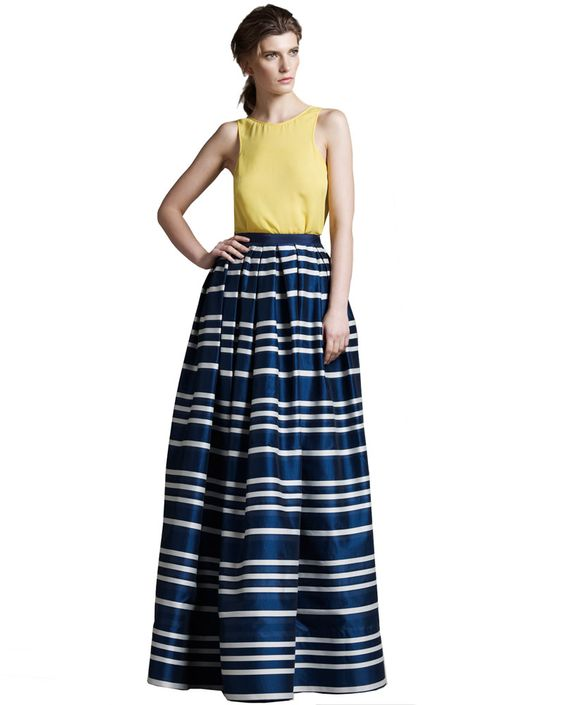 Wes Gordon Reversible Silk Tank & Long Striped Skirt