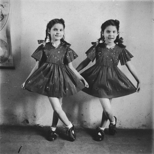 Twins Yehudit and Lea, some of Mengele's test subjects. they and their mother survived the war. 1930s
