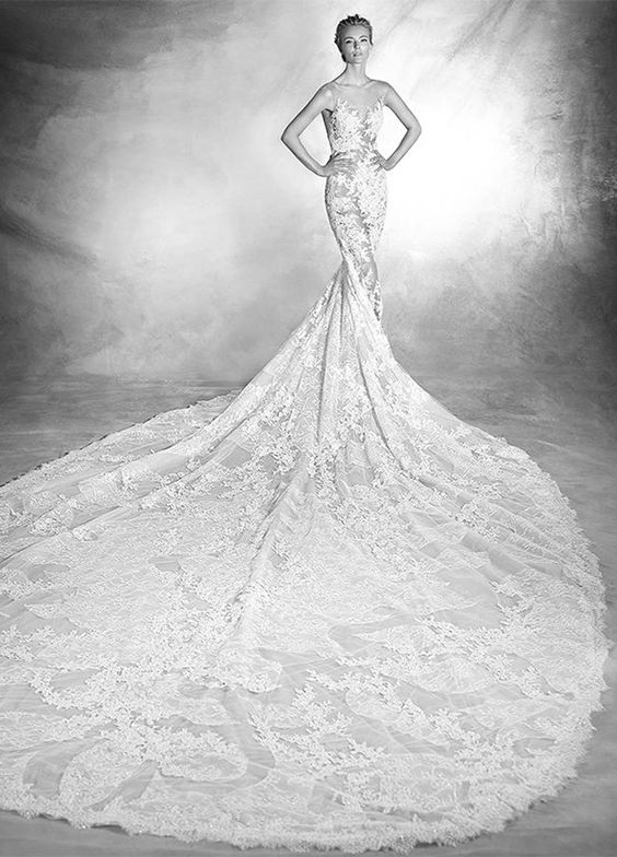 It's time to make an entrance and an exit! Long, flowing statement-making trains stole the show on the runways. Pronovias 2016 Bridal Collection