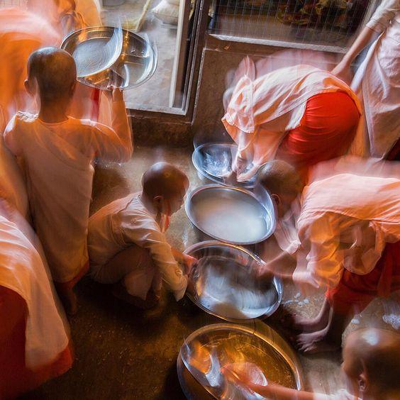 """Photo by @edkashi  @viiphoto  Young girls eat and study at the Zabu Oak Shaung Nunnery Free School for Buddhist Nuns in Kyauktan Township, Burma on Dec.…"""