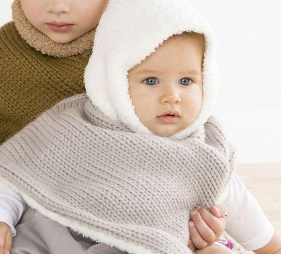 Avis aux débutantes ! Lancez vous avec ce modèle très tendance de poncho à capuche pour bébé. Tricoté en 'Fil PHIL DOUCE', coloris Chanvre et Ecru.Modèle N°19 du catalogue N°127 : Bébé & Enfant, Automne/Hiver 2015