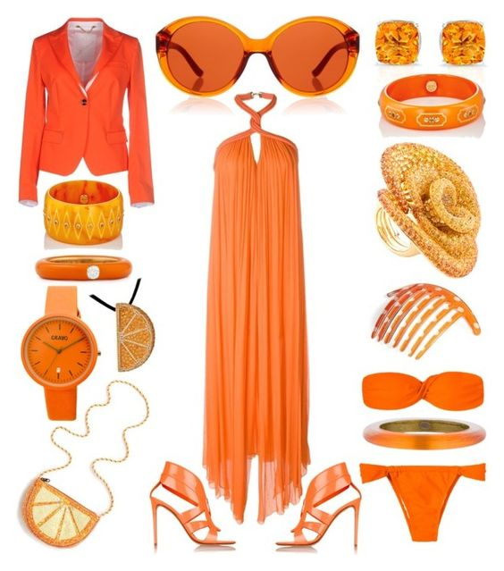 """""""Orange Splash"""" by creation-gallery ❤ liked on Polyvore featuring J.Crew, Jay Ahr, Nicholas Kirkwood, The Row, Montecore, Crayo, Mark Davis, Adolfo Courrier, France Luxe and Alexis Bittar"""