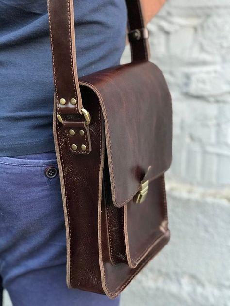 Color : Brown DQMSB Mens Shoulder Bag Crossbody Casual Business Tote Retro Mens Briefcase