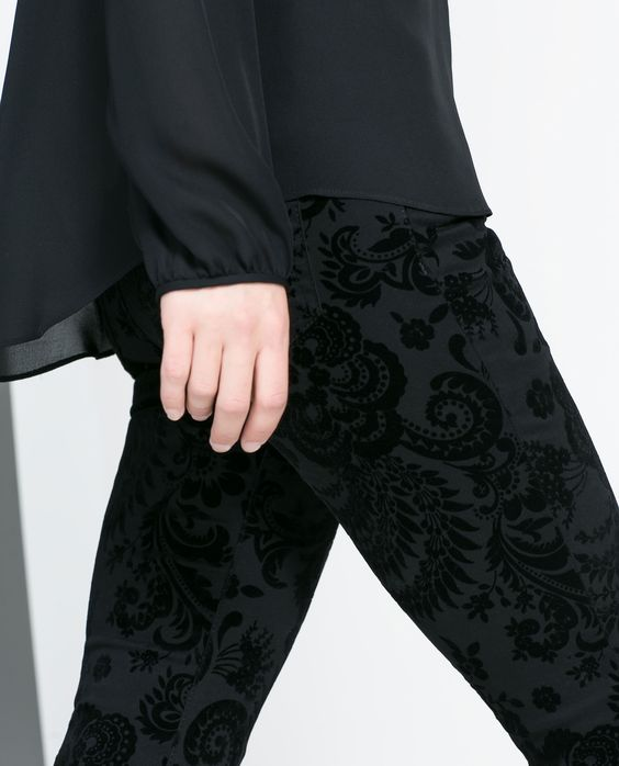 FLOCK PRINT TROUSERS - Trousers - WOMAN | ZARA United States
