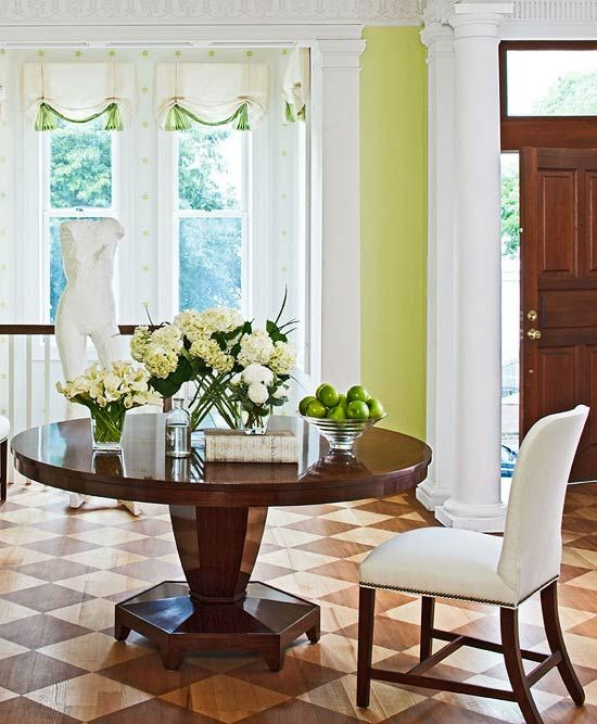 Love the green wall color and the fresh look by Interior Designer by Mary Douglas Drysdale.