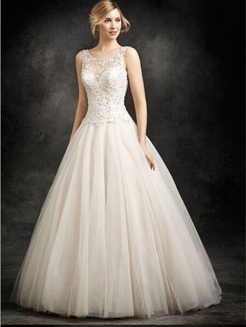 Ivory lace wedding word shoulder floor length wedding dress bridal gown open back US size 2-4-6-8-10-12-14 ++