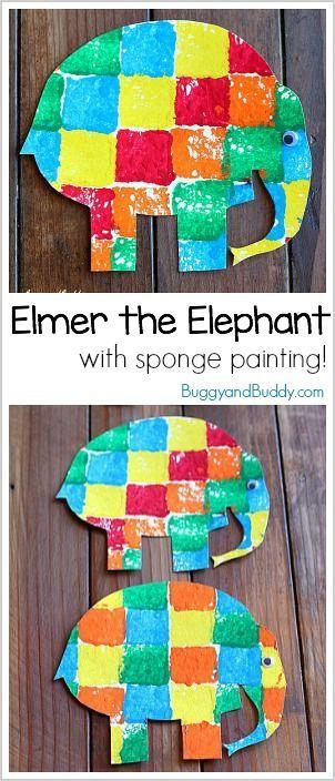 Elmer the Elephant Sponge Painting Art Activity for Preschool and Kindergarten ~ BuggyandBuddy.com