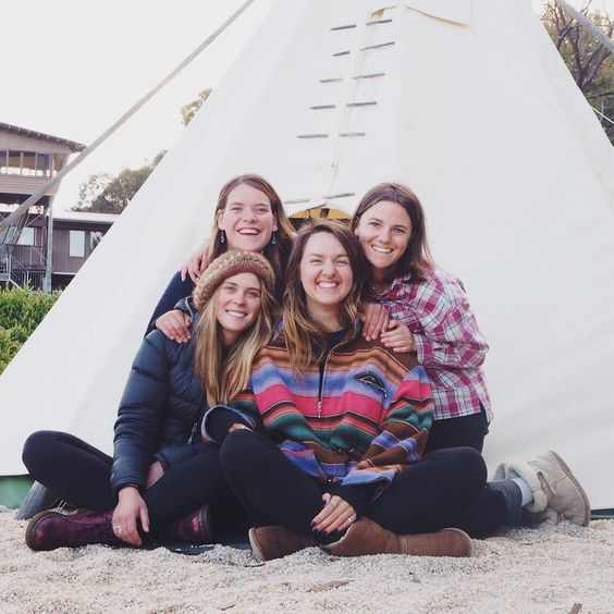 "Girls living it up at Bells Tee Pee! Go to ""Tee Pee Dreaming"" adventure on RipaRide.com to book a stay in this awesome tent. Photo: @hcwomen 