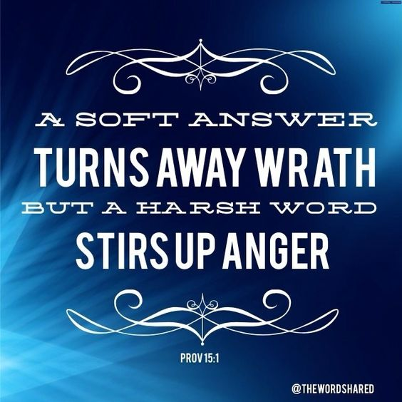 A soft answer turns away wrath, But a harsh word stirs up anger. ~Prov 15:1