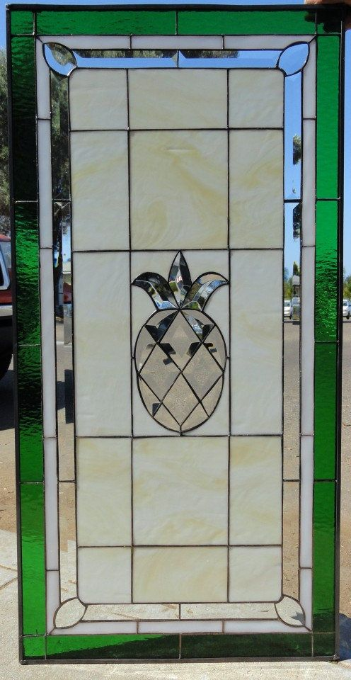 Hey, I found this really awesome Etsy listing at https://www.etsy.com/listing/185341873/beveled-pineapple-stained-glass-window