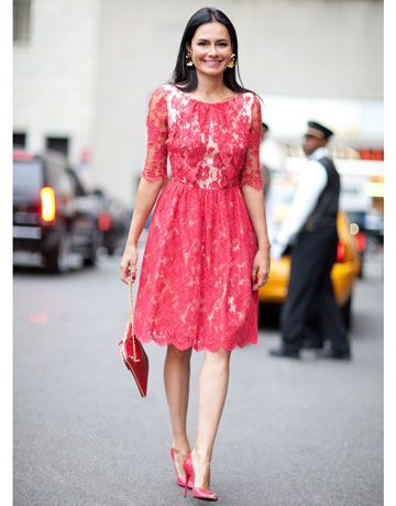 Street Style Spring 2012: New York Fashion Week - Red lace dresses ...
