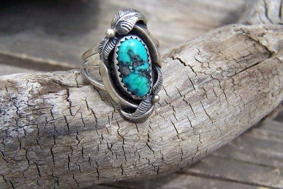 Indian Made Jewelry Sterling and Turquoise Ring by papercherries
