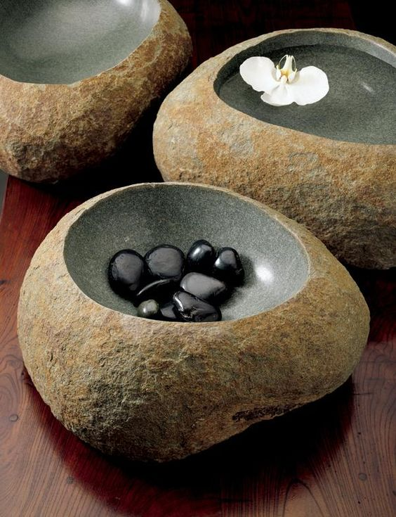 Wabi Basins,   Artist: Stone Forest,   Solid Green-Grey Granite,   Dimensions: 5""