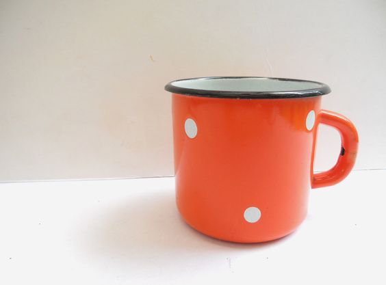 Soviet vintage orange polka dot mug Enamel cup Kitchen Home decor 1970s. $12.00, via Etsy.