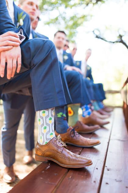add some personality to a group of groomsmen by letting them pick fun socks to wear on the day of! #bridesofok #oklahomabrides: