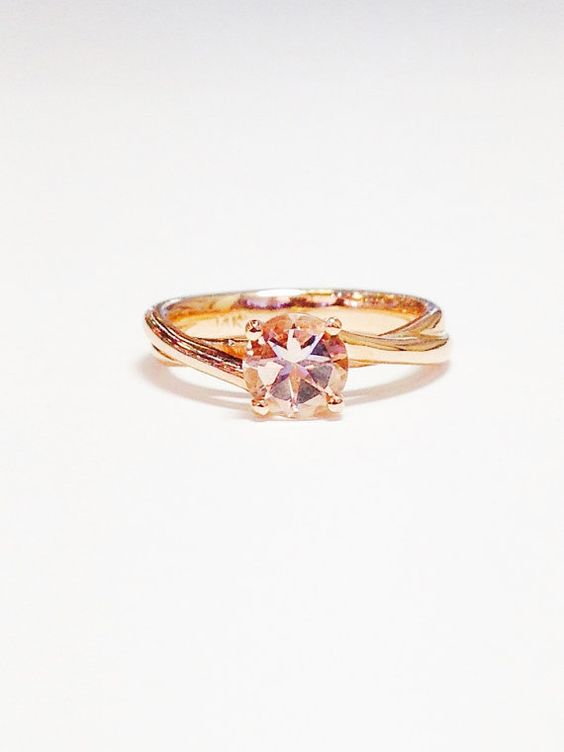 Morganite Color Stone Ring Crisscross Infinity by FineJewlers