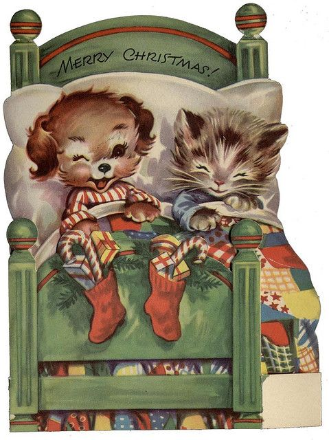 Pup and kitten vintage Christmas card: