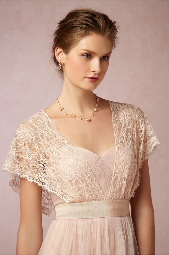 Iris Topper from BHLDN - pretty in ivory or blush; add on top of strapless or spaghetti strap dress (like Annabelle)
