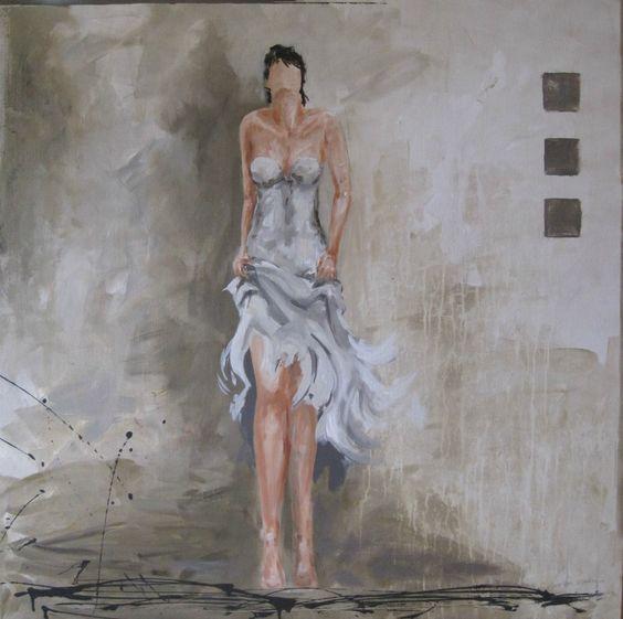 Schilderij kleuren wit grijs beige vrouw in beweging for Klassiek modern interieur