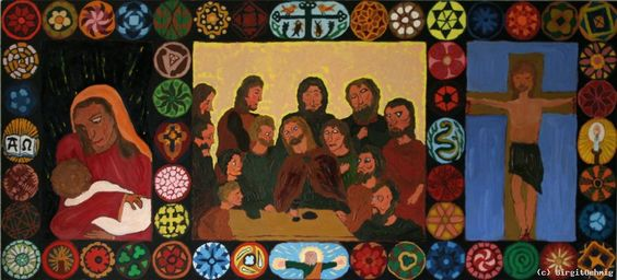 BirgitOehmig, Triptychon Jesus die 12 Apostel und Maria, 2007