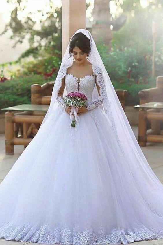 2019 Nueva vestido de novia Una línea de la corte de la cucharada de tren de tul con aplicaciones de mangas largas US$ 319.99 VTOPYPMBTE5 - VestidoBello.com