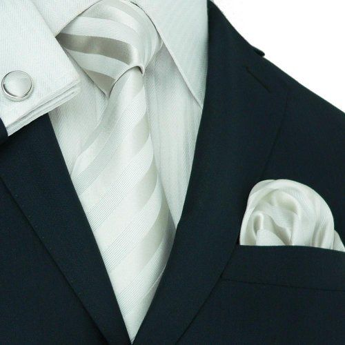 Men's Striped Silver And White 100% Silk NeckTie Set 27A  http://www.yourneckties.com/mens-striped-silver-and-white-100-silk-necktie-set-27a/