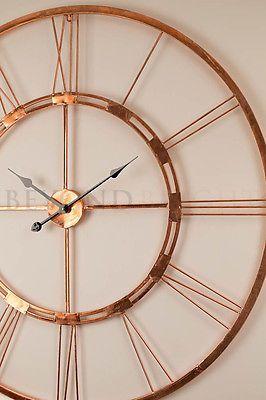 large wall clock 101cm copper bertha metal industrial. Black Bedroom Furniture Sets. Home Design Ideas