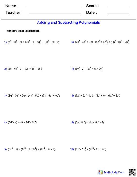 {Adding and Subtracting Polynomials Worksheets – Subtracting Polynomials Worksheet