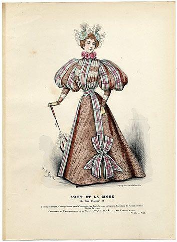 L'Art et la Mode 1895 N°25 Complete with colored engraving by Marie de Solar