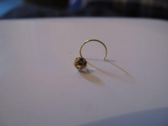 18k Gold Nose Stud, 18k Gold Nose Ring, 18k Indian Gold Nose Ring, Gold Boho Jewelry by RabariRajkumari on Etsy