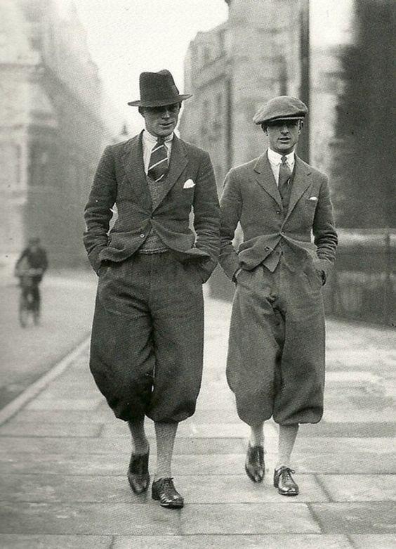 Cambridge undergraduates in plus fours, 1926.: