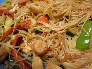 Fideos de arroz fritos con verdura